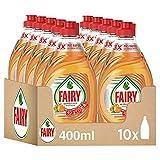 Fairy Ultra Poder Lavavajillas Líquido a Mano, 4 L (10 x 400 ml), Limpio y Fresco, Aroma Naranja, Mega Pack