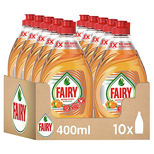 Fairy Ultra Poder Lavavajillas a Mano, 4 L (10 x 400 ml), Limpio y Fresco, Aroma Naranja, Mega Pack