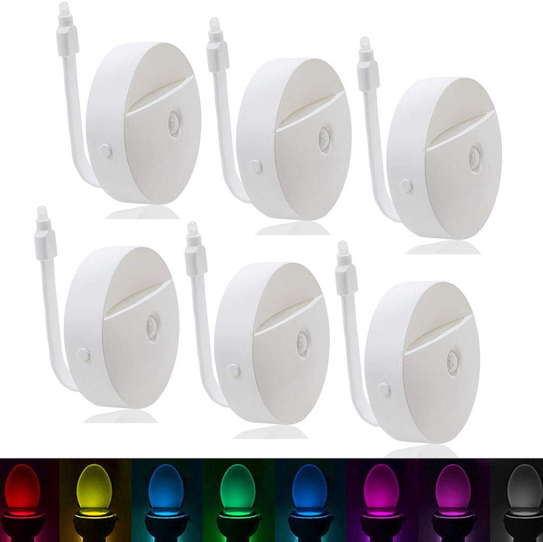 DONGBALA Intelligente Sensor leuchtet wc nachtlicht Wasserdichte LED Lampe mit 8 Farben ndern batteriebetrieben für waschraum (5 Packs),6packs