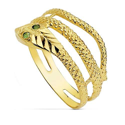 Sortija Oro 18K Mujer Motivo Serpiente Tallada Dos Vueltas Ojos Piedra Verde Esmeralda