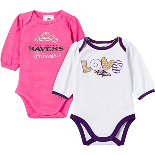 NFL Baltimore Ravens Unisex-Baby 2-Pack Long-Sleeve Bodysuits, Pink/White, 0-3 Months