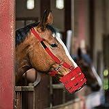Museruola per cavalli Easy Breathe per l'attrezzatura equestre dell'asino del cavallo, Rosso, S