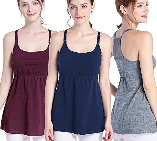 SUIEK 3PACK Nursing Top Tank Cami Maternity Shirt Sleep Bra for Breastfeeding (Large, Burgundy + Dark Grey + Navy (3/Pack))