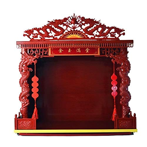 LLNN 20' Widened Big Buddha Booth Table Solid Wood Buddhist Altar Wall Cabinet God of Wealth Buddha Cabinet for Table