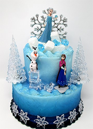 Cake Toppers Winter Wonderland Princess Elsa Frozen Birthday Set Featuring Anna, Elsa, Olaf and Decorative Themed Accessories