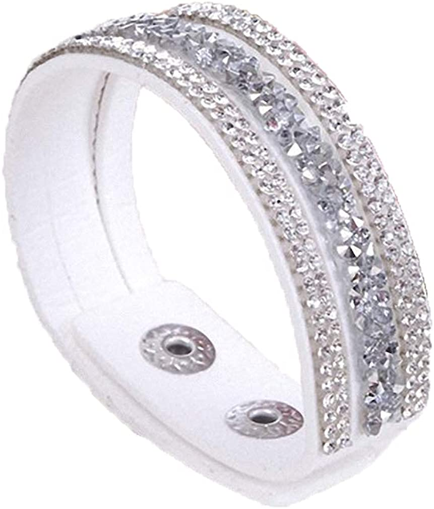 Barsly Leather Wrap Wristband Cuff Punk Crystal Rhinestone Bracelet Bangle