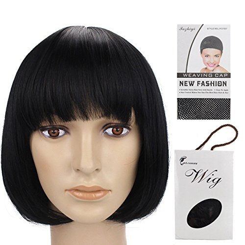 Grammy 11' 150g Straight Flat Bang Bob Black Short Synthetic Cosplay Hair Wig for Women Natural As Real