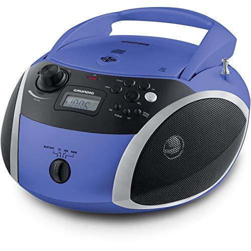 Grundig GRB 3000 BT - Radio portátil con Bluetooth, Color Azul y Plateado
