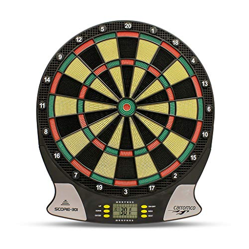 Carromco Electronic Dart Board Score 2nd Generation 92016 Unisex Adulto, Black, Red, Green, Yellow
