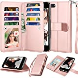 Njjex Wallet Case For iPhone SE 2020/SE2, for iPhone 8/iPhone 7 Case, [9 Card Slots] PU Leather Credit Holder Folio Flip [Detachable] Kickstand Lanyard Magnetic Phone Cover For iPhone SE 2nd -RoseGold