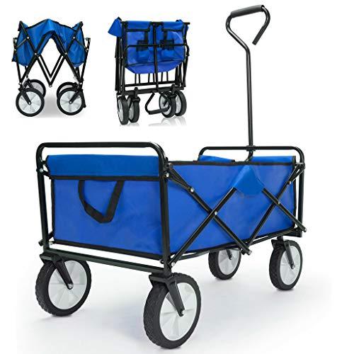Bollerwagen faltbar 360° Vollgummireifen 2 Getränkehalter Handwagen Gartenwagen Transportwagen Strandwagen bis 100kg - Blau