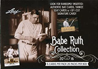 2016 Leaf Babe Ruth Collection Baseball Factory Sealed Blaster Box 20 Packs Per Box 5 Cards Per Pack Look For Randomly Inserted: Authentic Bat Cards Yankee Seat Cards & 1 of 1 Cut Signature Card