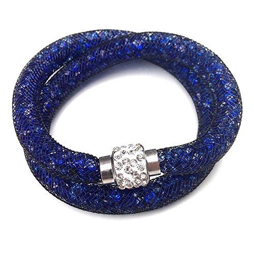 Bracelet double rangée avec des cristaux de paillettes et Shamballa Ball Tendance Bijoux Bijoux Fashion en couleur marin de la marque MyBeautyworld24