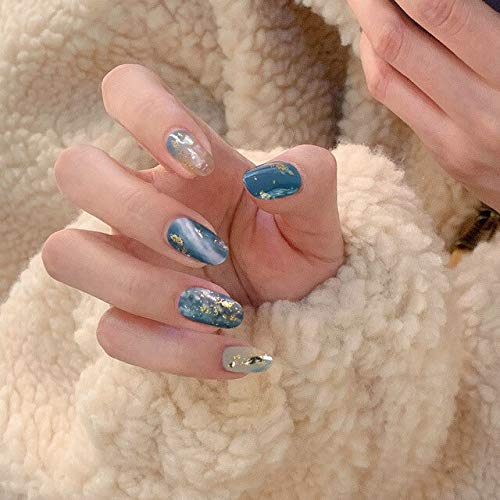 Rpbll 24Pcs/boxed Blue gray with Rhinestone Mid-Length press on Nails Women Wearable Full Cover Finger fake nails acrylic with glue White