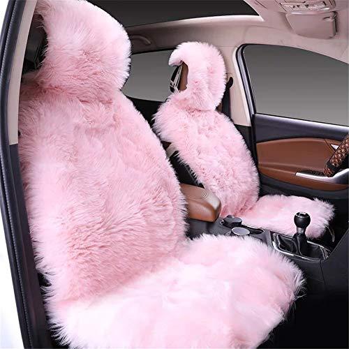 Martin Kench Lammfellbezug Auto Sitzbezug, Lammfell Vordersitzbezug, Wolle Schaffell Autositzbezug Sitzauflage (Pink)