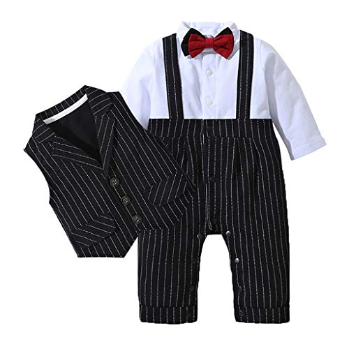 sunnymi 0-24 Monate Kinder Baby Jungs Gentleman Bowtie Schwalbenschwanz Strampler Overall Outfits