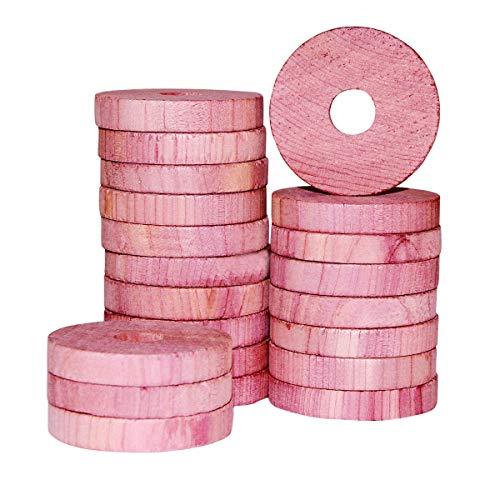 Cedar Space 22 Stück Zedernringe für Kleider - 100% US Red Zeder Holz - angenehm duftender Zedernholz Geruch-mottenschutz für kleiderschrank