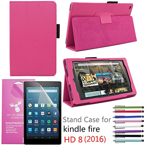 EpicGadget PU Leather Folding Folio Case with Screen Protector and Random Color Stylus for Fire HD 8 (Previous 6th Gen) (2016) - Hot Pink