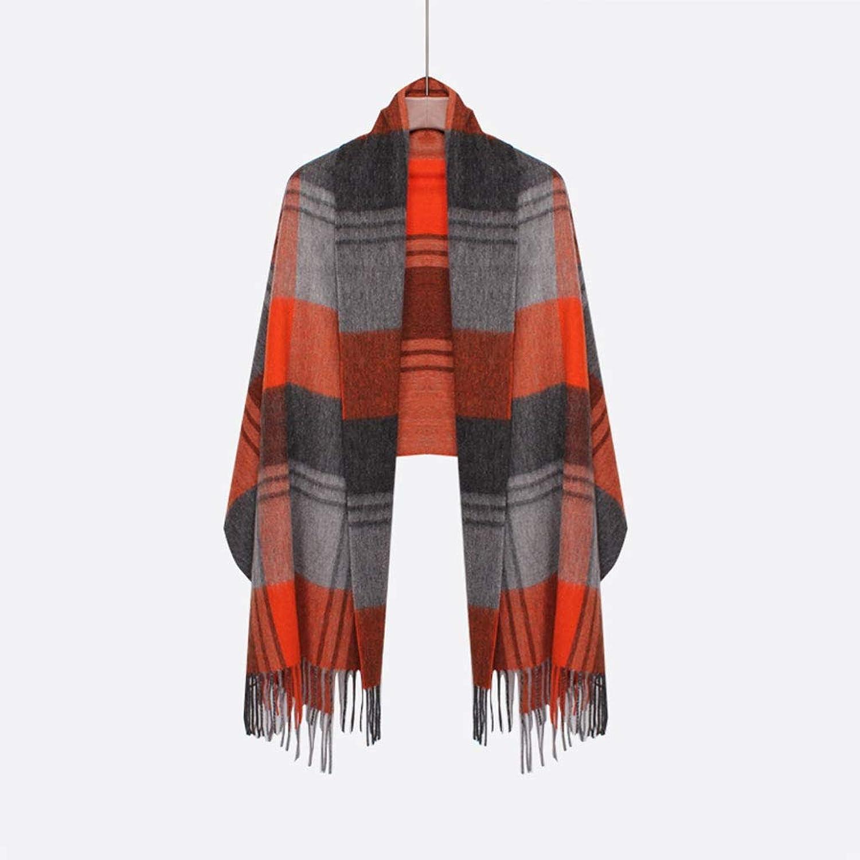 QAR Autumn and Winter Scarf DoubleSided Plaid Classic British Shawl Dualuse Thin Cloak Shawl Scarf (color   D)
