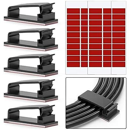 Chesbung Adhésifs Clips Câble Lot de 50 Clips de Câble Adhésifs 3M pour Câbles Ethernet et Système de Gestion de Câbles pour TV, PC, ordinateur portable, bureau