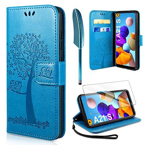 AROYI Handyhülle für Samsung Galaxy A21S Hülle + Schutzfolie,Galaxy A21S Klapphülle Hülle PU Leder Flip Wallet Schutzhülle für Samsung Galaxy A21S Tasche, Blau