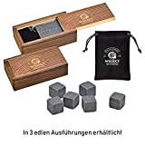 WOMA Whisky Steine Set - 6, 9 & 12 Eiswürfel wiederverwendbar aus Basalt mit Samtbeutel und...