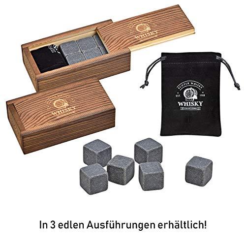 WOMA Whisky Steine Set - 6, 9 & 12 Eiswürfel wiederverwendbar aus Basalt mit Samtbeutel und hochwertiger Holzbox, Geschmacksneutral, Kein Verwässern für Whiskey, Wodka, Gin & Mehr