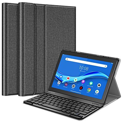 Fintie Tastatur Hulle Kompatible fur Lenovo Tab M10 TB X505F TB X505L TB X605F X605L Slim Schutzhulle mit magnetisch Abnehmbarer Deutsches QWERTZ Bluetooth Keyboard Dunkelgrau