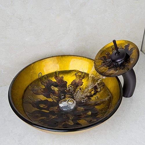 Aanrechtblad Wastafel Aanrechtblad Bowl Gehard Glas Vaas Wastafel kraan Art Design Set Geel Handverf
