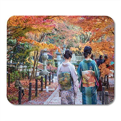 Alfombrillas de ratón disfraz festival de naranja señoras japonesas en kimono disfrute de hojas de otoño pareja local roja alfombrilla de ratón para portátiles, Alfombrillas de escritorio suministros