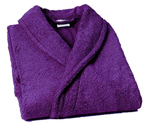 Lasa Pure Albornoz con Cuello Tipo Smoking, algodón 100%, Violeta, M