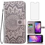 Phone Case for Samsung Galaxy J2 Pure J2 Core J 2 Dash 2J Shine Wallet Cases with Tempered Glass Screen Protector Flip Cover Card Holder Stand TPU Cell J2Core J2Dash J2Pure J2Shine SM-J260A J260A Gray