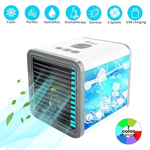 3in1 Mini Air Cooler, Gimify USB Klimagerät 3 in 1 Raumluftkühler | Mobile Klimaanlage | Luftkühler | Aircooler | Klimagerät Klima tragbar mit 3 Leistungsstufen&7 Farben LED-Licht