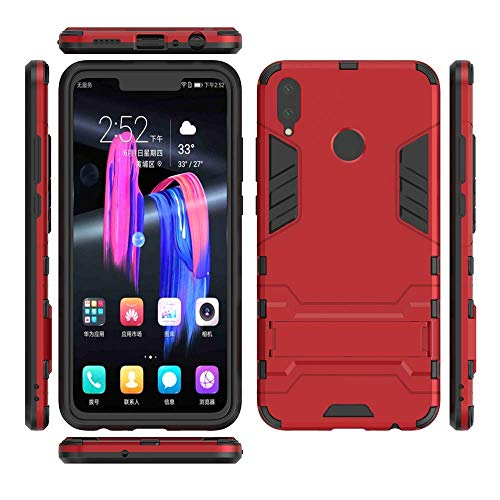 Huawei Honor 8X Hülle, MHHQ Hybrid 2in1 TPU+PC Schutzhülle Rugged Armor Case Cover Dual Layer Bumper Backcover mit Ständer für Huawei Honor 8X -Red - 5