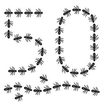 LovesTown Big Fake Ants Simulated Insect Prank Toy Ants Toy Figure 1.6  Joke Toys Halloween Party Supplies 50Pcs