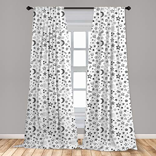 Ambesonne Nursery Window Curtains, Stars and Crescent Moon Heavenly Bodies Abstract Sketch Style Space Cosmos Image, Lightweight Decorative Panels Set of 2 with Rod Pocket, 56' x 84', White Black
