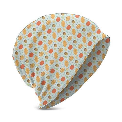 LESKETH BeanieCapforBoyGirl,SoftWarmKidsKnit Flat Art Inspired Doodle Acorns Leaves Pumpkin and Apples On Raindrop Shapes Pattern