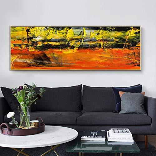 Ölgemälde der gelben und roten abstrakten Kunst auf Leinwand,Rahmenlose Malerei,75x225cm