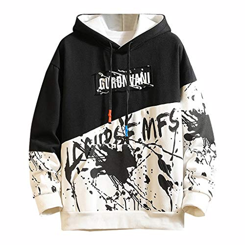 AKAIDE Mens Hoodies Casual Patchwork Pullover Long Sleeve T Shirts Fashion Hooded Hip Hop Tops Chinese Printing Sweatershirts Autumn Winter Warm Jumpers Sweater for Men (Black#02, XXXXL)