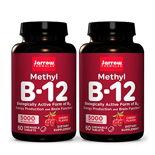 Jarrow Formulas Methyl B-12 5000 mcg - 60 Chewable Tablets, Cherry - Pack of 2 - Bioactive Vitamin B12 - Supports Energy Production, Brain Health & Metabolism - Gluten Free - 120 Total Servings