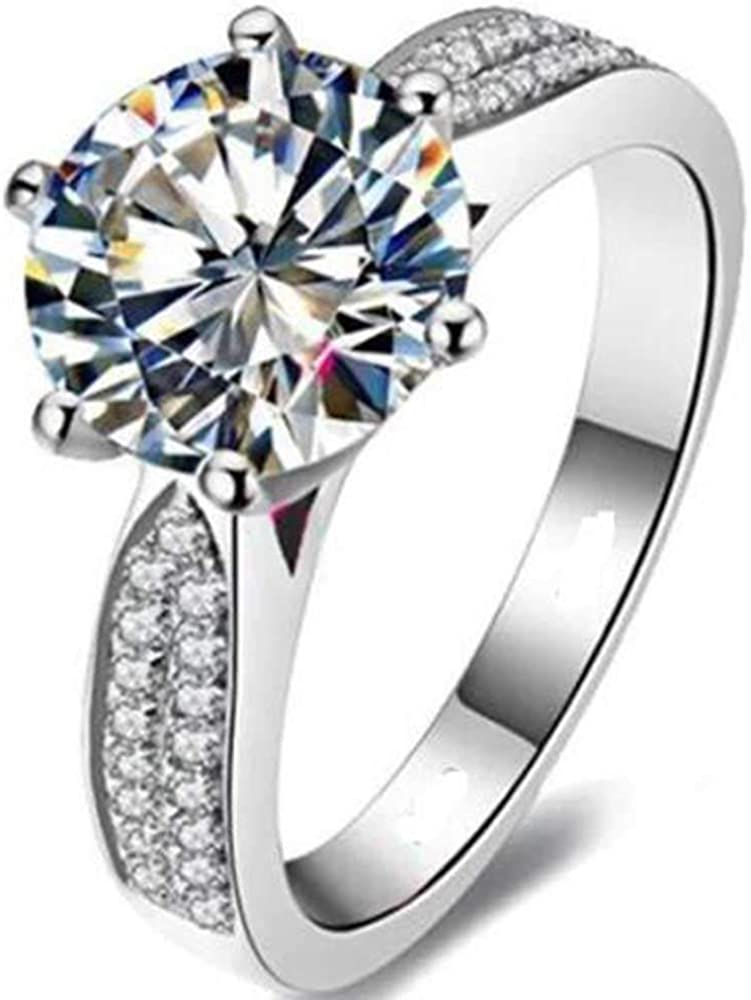 Jude Jewelers Platinum Plated 2.0 Carat AAA Grade Cubic Zircon Wedding Engagement Proposal Solitaire Ring