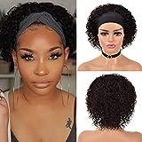 Short Curly Pixie Cut Wig Headband Wigs for Black Women Brazilian 10A Human Hair Short Bob Human Hair Wigs Water Wave Half Wigs Natural Color 150% Density 8 Inch