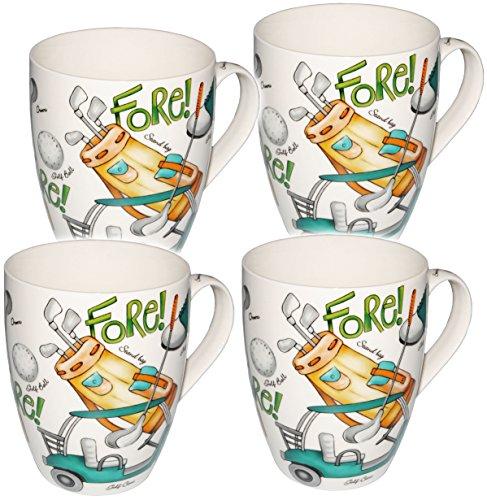 alles-meine.de GmbH 4 Stück _ Kaffeetassen / Henkeltassen - 500 ml - Golf Spiel - groß - Jumbotasse - Keramik / Porzellan - Teetasse - Mikrowellengeeignet - Trinktasse mit He..