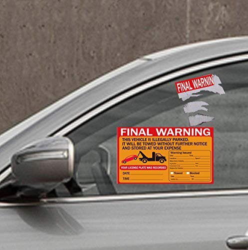 Parking Violation Stickers Tow Stickers for Car Vehicle 50 pcs Private Parking Warning Stickers Adhesive Car Window Fluorescent Labels 5.5X7.5 inch (Fluorescent Orange) Photo #4