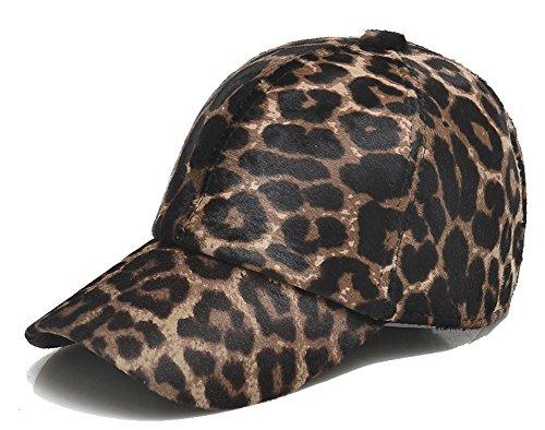 Roffatide Unisexo Estampado de Leopardo Gorra de Béisbol de Piel con Orejeras Sombrero de Cuero Ajustable Invierno