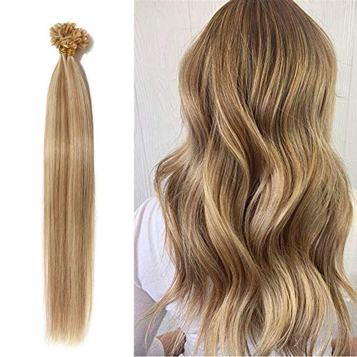100 Strands Pre Bonded Remy Human Hair U Tip Hair Extensions Nail Tip Italian Keratin Fushion Hairpiece Long Straight Silky For Women #12P613 Golden Brown&Bleach Blonde 18 inches 50g