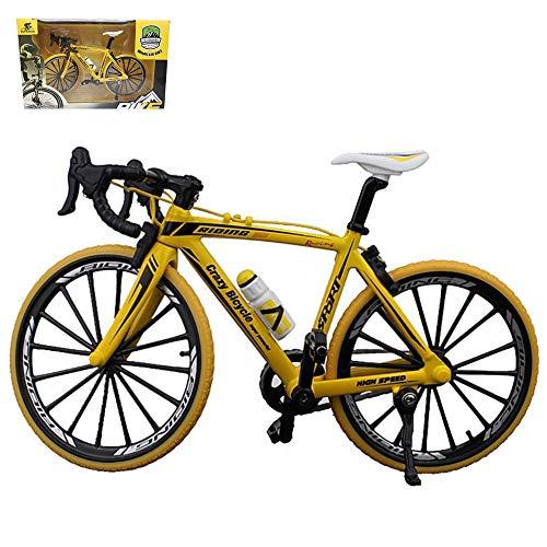 Kiwochy Bicicleta Modelo Deco Bicicleta Miniatura 1: 8(7.87 * 5.12 Pulgadas) Colección Deco Die-Cast Juguetes Mini Curva Modelo De Bicicleta Bicicleta De Montaña De Carretera Amarillo