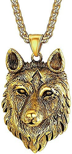 AMOZ Nordic Celtic Wolf Pendant Necklace, Viking Handmade Vintage Gothic Amulet for Men Women, Punk Rock Animal Amulet Sweater Chain Jewelry,Gold