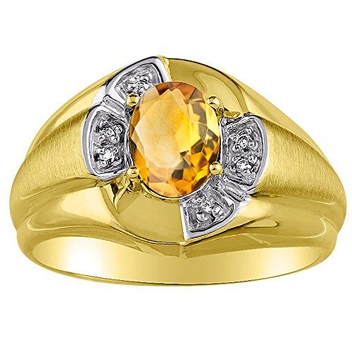 Anillo de oro amarillo o blanco de 14 quilates con diamante y citrino