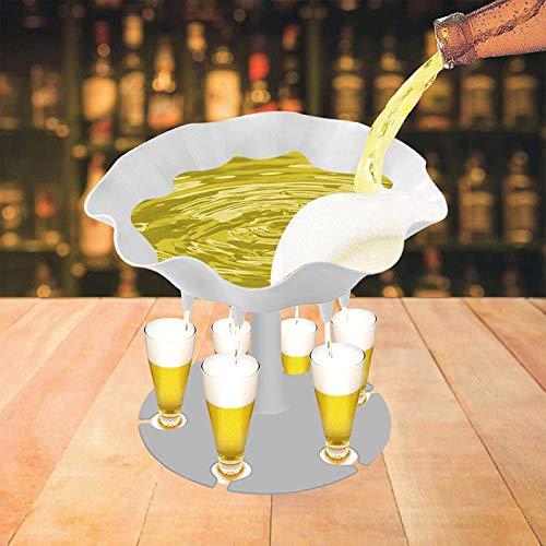 SANNIANER Dispensador de vasos de chupito y soporte, dispensador de 6 chupitos para rellenar líquidos, dispensador de cócteles para bar, fiesta en casa (6 tazas) color blanco